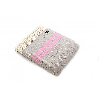 Tweedmill Pure New Wool Fishbone 2 Stripe Throw - Silver Grey/Pink