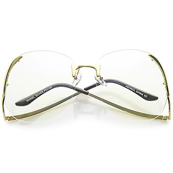 Women's Rimless Curved Metal Arms Round Clear Lens Oversize Eyeglasses 67mm
