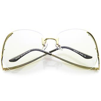 Gafas Oversize lente claro redondo de armas sin montura Metal curvo de las mujeres 67mm