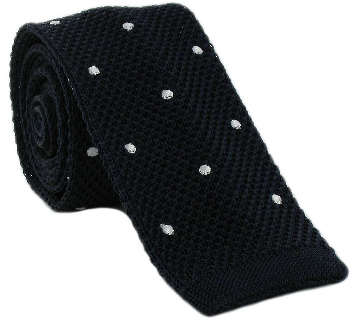 Michelsons of London Spot Design Tie - Navy/White