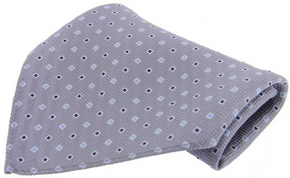 David Van Hagen Neat Pattern Silk Handkerchief - Grey