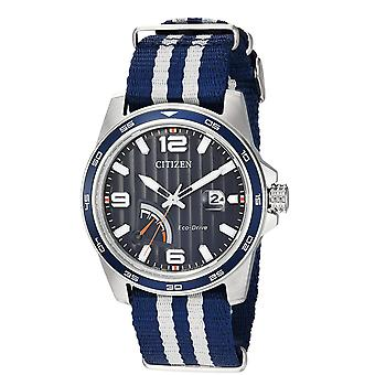Citizen Eco-Drive Power Reserve zebrato Nylon Mens Watch AW7038 - 04L