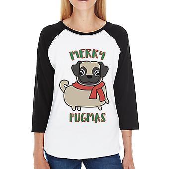 Merry Pugmas Pug Womens Christmas Gift Raglan Shirt For Pug Owners