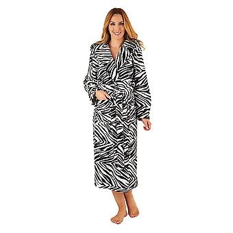Slenderella GL8740 Women's Black Zebra Print Robe Long Sleeve Dressing Gown