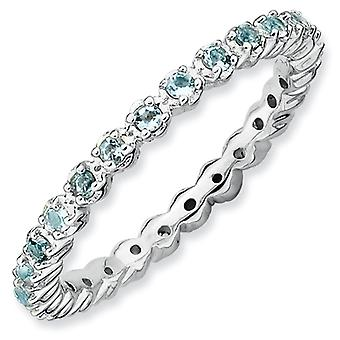 Sterling Silver Polished Prong set Patterned Rhodium-plated Stackable Expressions Aquamarine Ring - Ring Size: 5 to 10