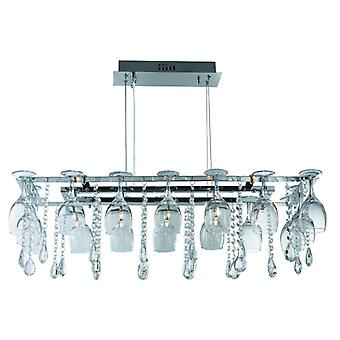 Vino 10 Light Chrome Pendant With Glass And Crystal - Searchlight 41510-10cc