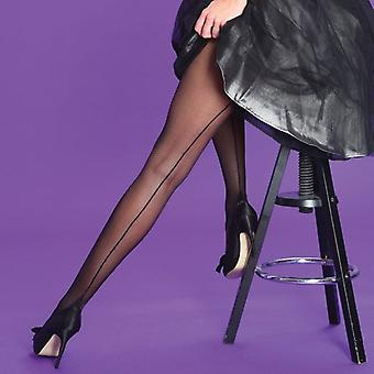 Silky Scarlet Black Seamer Tights
