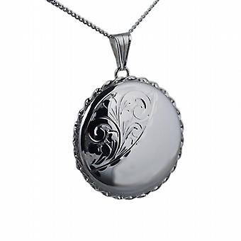 Silver 31mm half engraved twisted wire edge round Locket with a curb Chain 18 inches