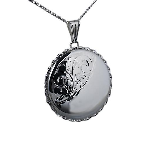 Silver 31mm half engraved twisted wire edge round Locket with Curb chain