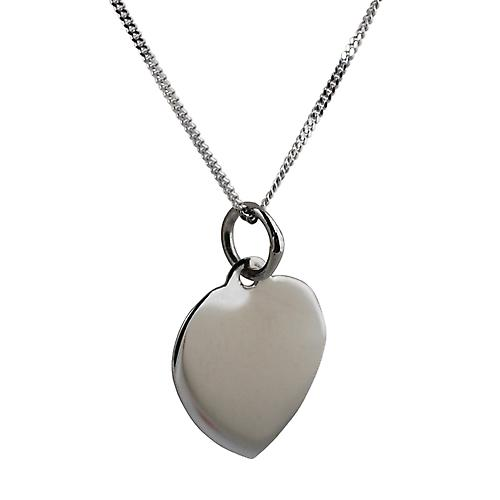 9ct White Gold 14x14mm plain heart Disc with a curb Chain 16 inches Only Suitable for Children