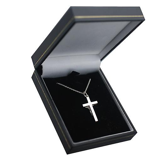 Silver 25x15mm plain block Crucifix with Curb chain