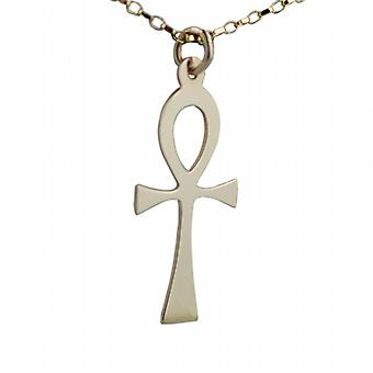 9ct Gold 33x17mm plain solid Ankh or Peace Cross with belcher Chain 16 inches Only Suitable for Children