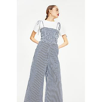English Factory Gingham Jumpsuit With T-Shirt Underlay