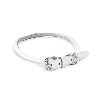 Round Leather Collar White