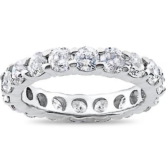 4ct Diamond Eternity Round Solitaire Wedding Ring 14K White Gold