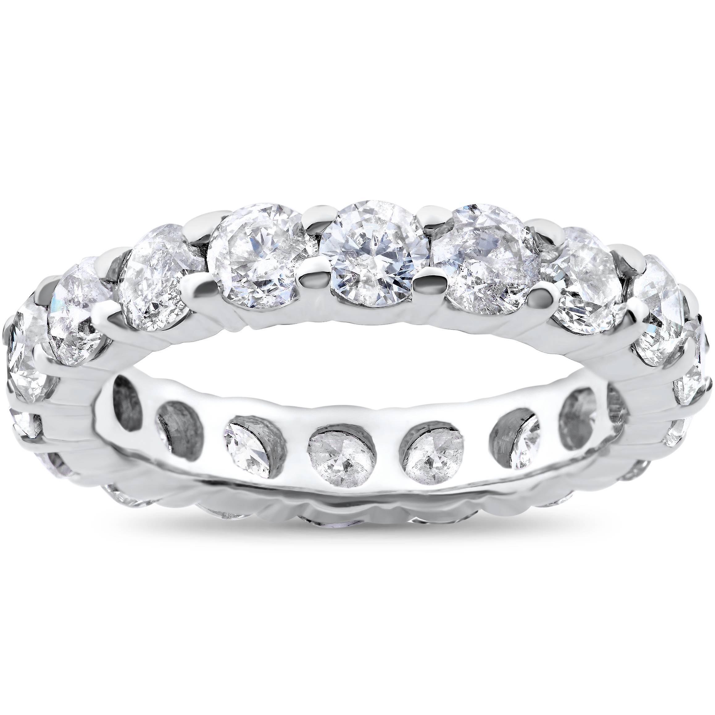 Éternité de véritable diahommet 3 carats bague en or blanc de mariage