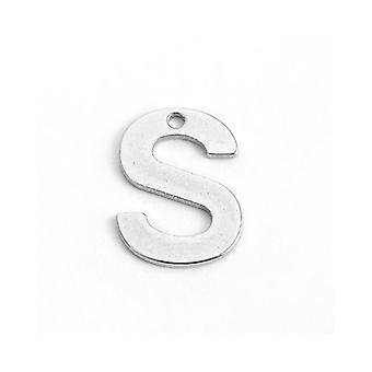 Packet 10 x Silver 304 Stainless Steel 8 x 12mm Letter S Charm/Pendant ZX20255