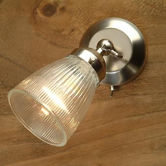 Garden Trading Pimlico Reeded Glass And Nickel Switched Wall Light