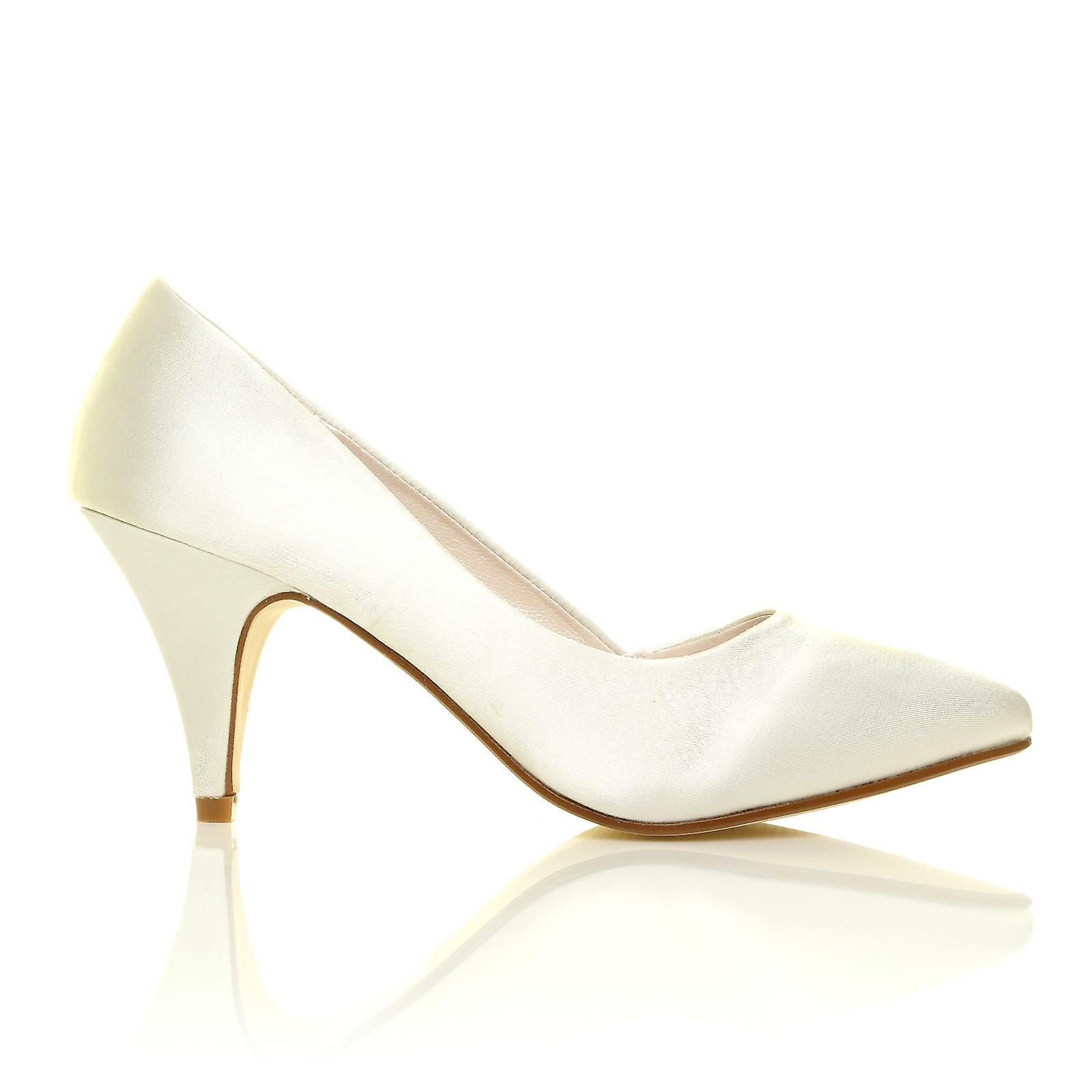 HOPE Ivory Bridal Satin Mid Heel Pointed Bridal Ivory Shoes 0f85ca