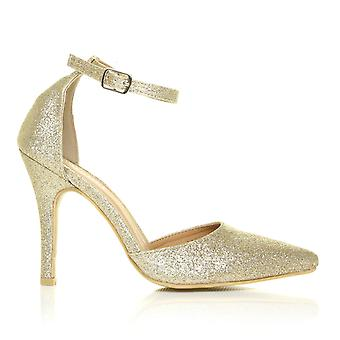 NEW YORK Champagne Gold Glitter Ankle Strap Pointed High Heel Court Shoes
