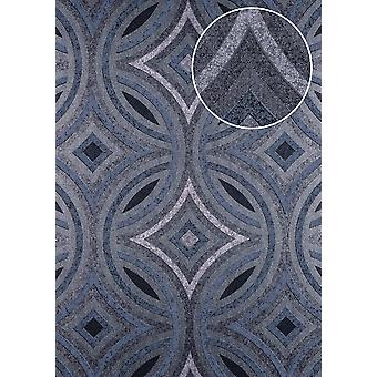 Graphic wallpaper ATLAS here-5135-2 non-woven wallpaper embossed Kaleidoscope-style shimmering anthracite grey blue silver 7,035 m2