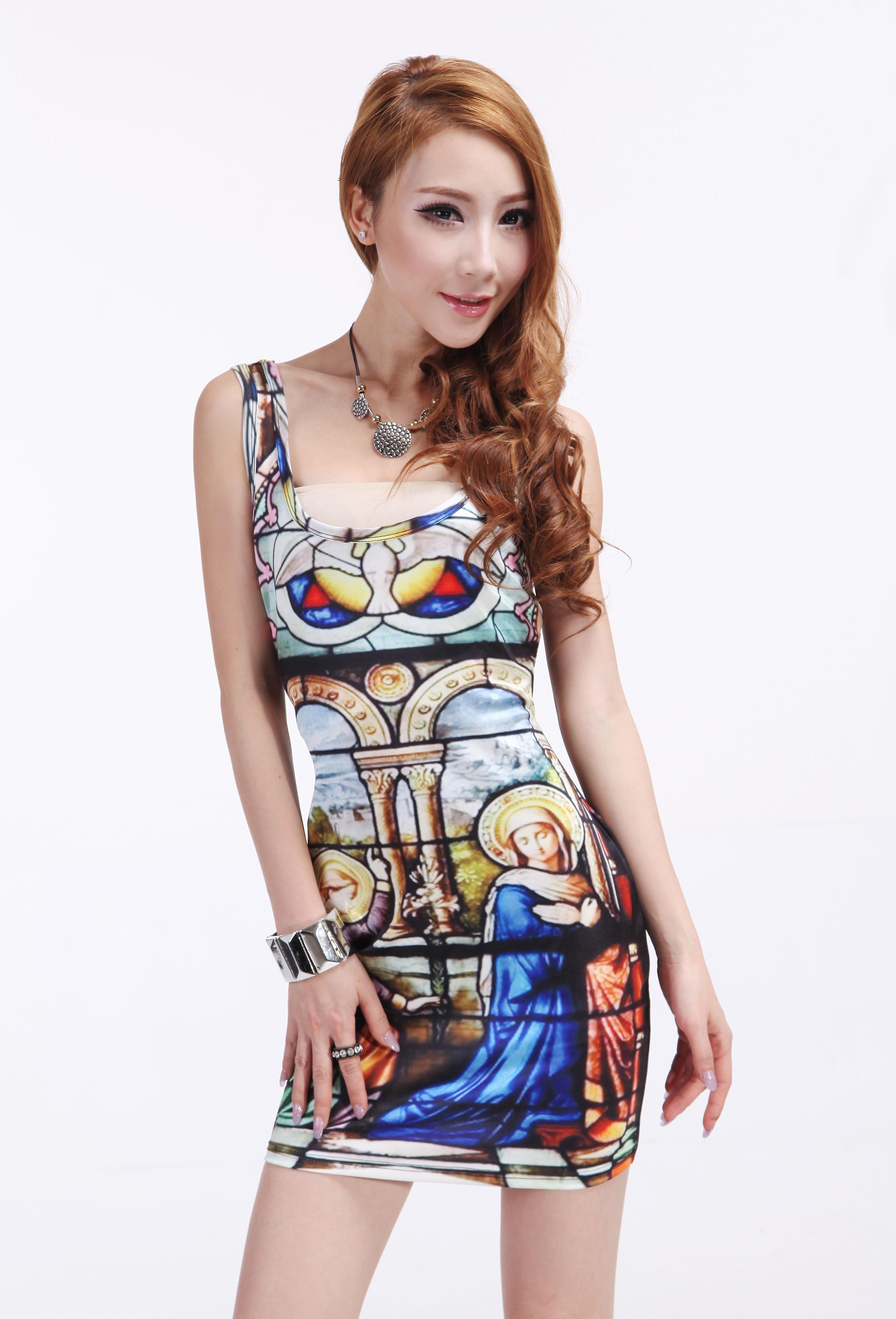 Waooh - Fashion - Short Dress stained glass motif