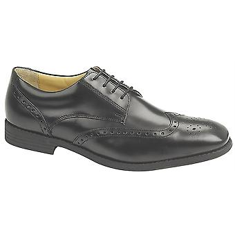 Mens Leather Hi Shine Lace Up Smart Office Dress Brogues Gibson Formal Shoes