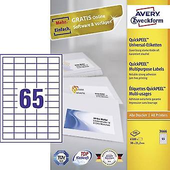 Avery-Zweckform 3666 Labels 38 x 21.2 mm Paper White 6500 pc(s) Permanent All-purpose labels Inkjet, Laser, Copier 100 s