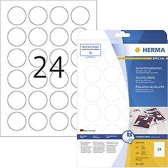 Herma 4234 Labels Ø 40 mm Film White 600 pc(s) Permanent Safety stickers, All-purpose labels Laser, Copier