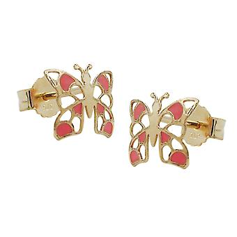 Goldene Ohrstecker Stecker Ohrringe SCHMETTERLING orange emailliert 9 Kt Gold 375