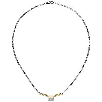 Necklace necklace stainless steel part yellow gold color coated 9 cubic zirconia 42 cm