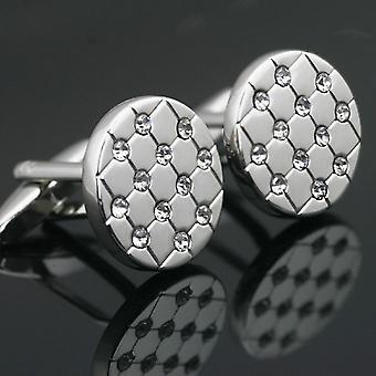 Premium Smart Silver Round Cufflinks Stud Oval Stones Cuff Link Shirt Button