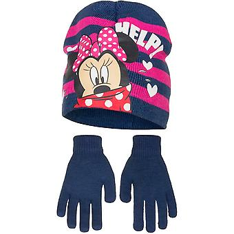 Disney Minnie Mouse Childrens Girls Help Winter Hat And Gloves Set