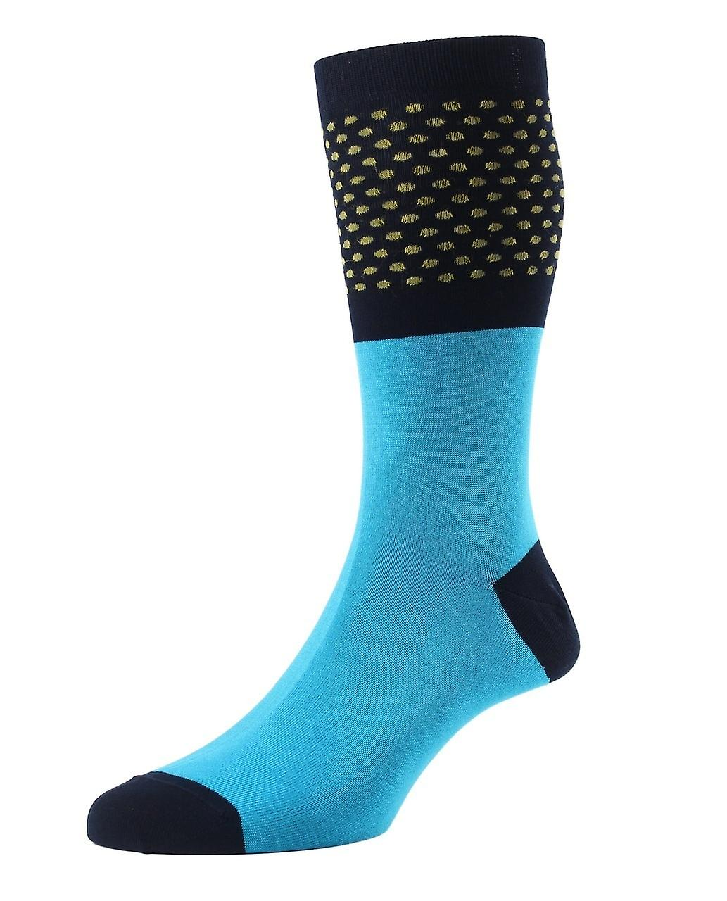Hockney men's aqua polka-dot socks by Pantherella. Made in England from Egyptian cotton lisle