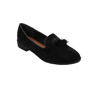 Damen Slip-On Dolly Schuhe Fell Quaste Pom Pom Pumps aus Veloursleder Ballerinas