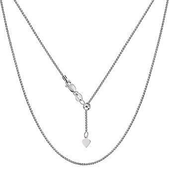 10 k Weißgold verstellbar Weizen Link Kette Halskette, 1,0 mm, 22