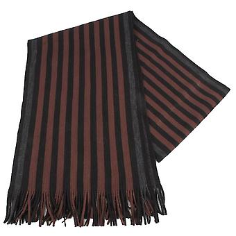 Bassin and Brown Grace Stripe Scarf - Brown/Black/Blue