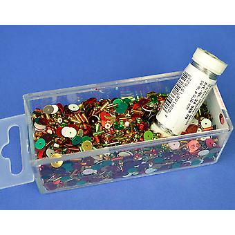 Christmas Sequin & Bead Mix with Wire - 80g | Childrens Craft Beads