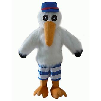 mascot SPOTSOUND of Seagull, Stork, with a CAP and a shirt