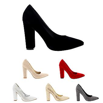 Womens Office Evening Block Heel Pointed Toe Pumps Shoes Work Court Shoe UK 3-10