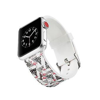 Siliconen klockrem voor Apple Watch 4 3/2/1-44 mm, 42 mm-Flamingo