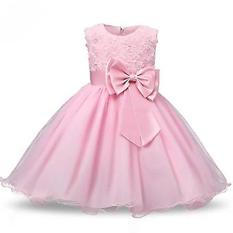Princess dress with rosette and Flowers-Pink