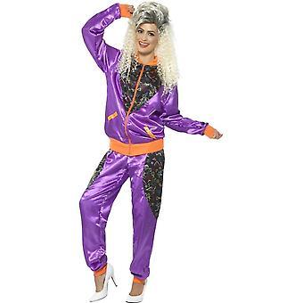 Retro-Shell Anzug Kostüm, Damen, lila, mit Jacke & Hose
