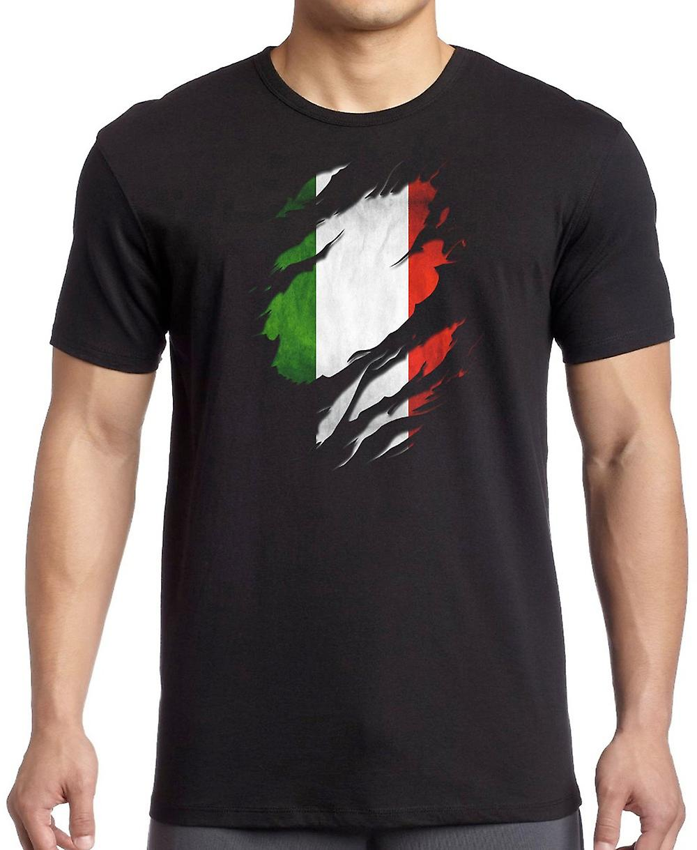 Italian Grunge Flag Ripped Effect T Shirt