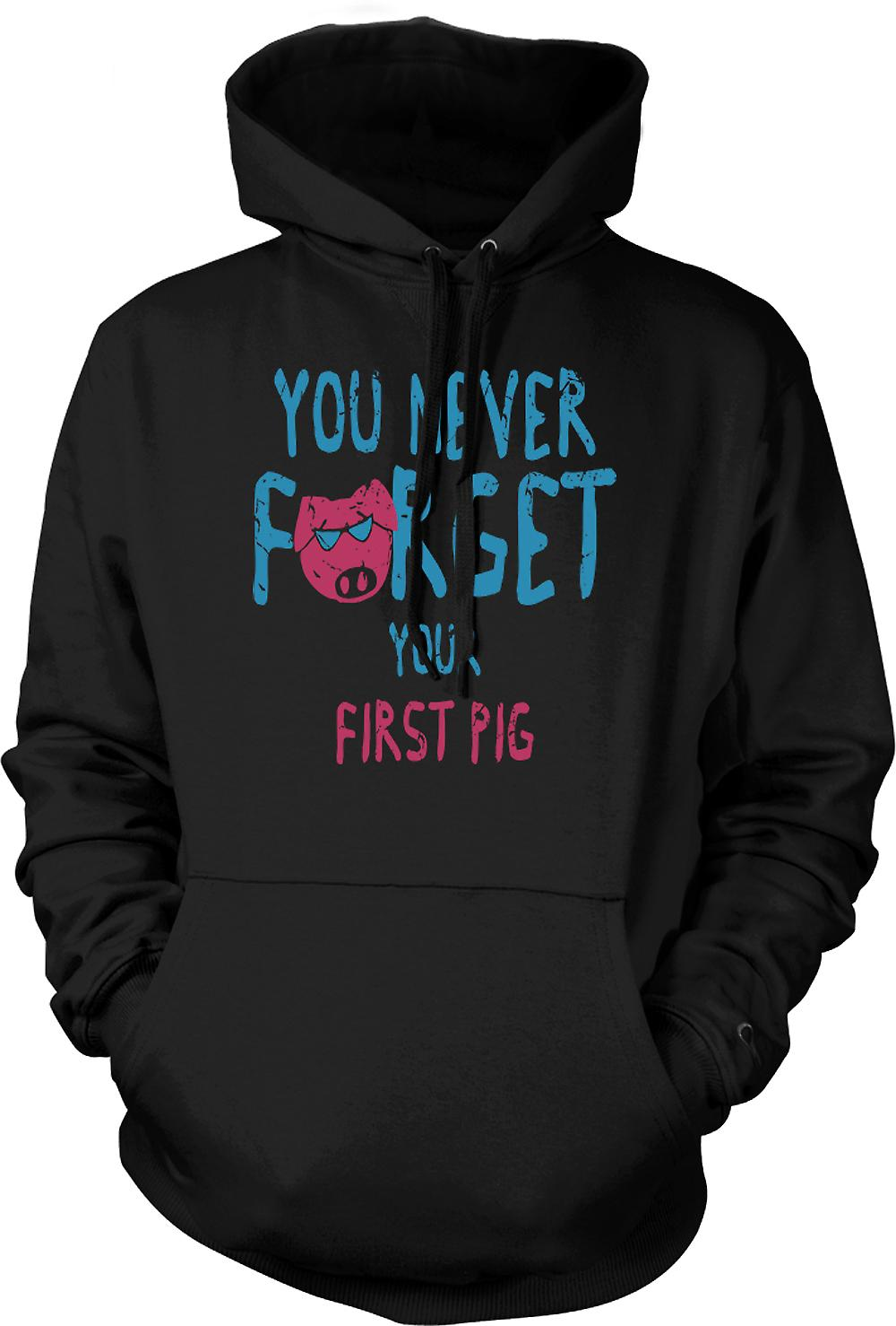 Mens Hoodie - You Never Forget Your First Pig - Funny Crude