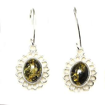 The Olivia Collection Sterling Silver Green Amber Drop Earrings