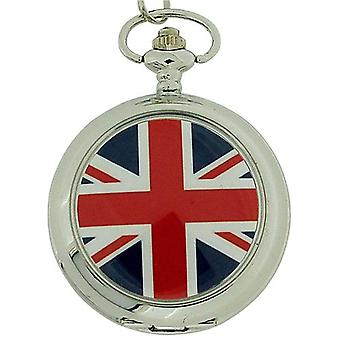 Boxx Engeland vlag Union Jack White Dial Gents Pocket Watch 12 Inch ketting Boxx22