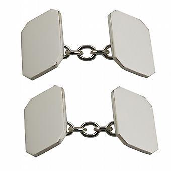 9ct White Gold 18x12mm cut corner plain chain Cufflinks