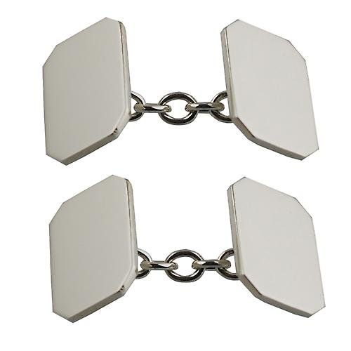 9ct White Gold 18x12mm cut corner plain chain Cufflinks