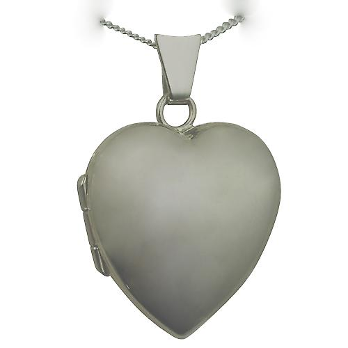 18ct White Gold 21x19mm plain heart Locket with a curb chain